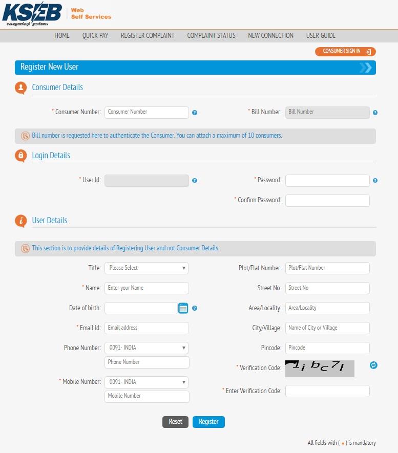 kseb online portal registration 1