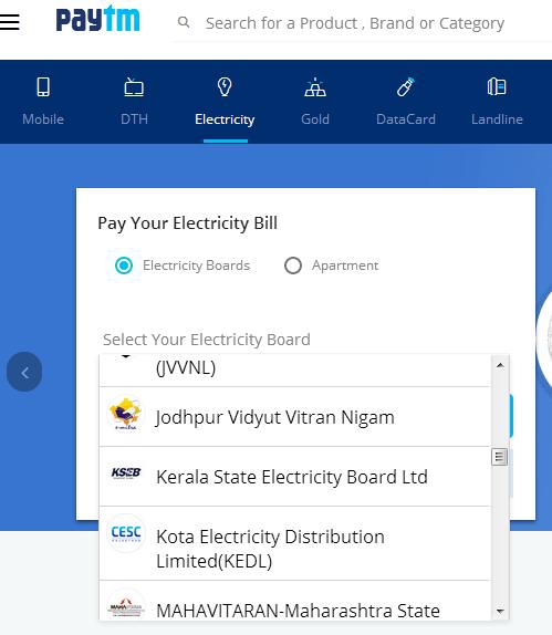 KSEB Bill Payment Online Paytm