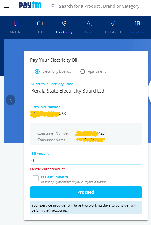 how to pay tneb bill in paytm