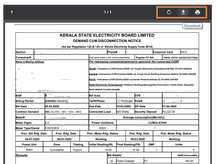 KSEB Bill Download Duplicate Copy